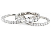 White Cubic Zirconia Platinum Over Sterling Silver Ring Set 4.20ctw