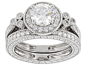 White Cubic Zirconia Platinum Over Sterling Silver Ring Set 2.16ctw