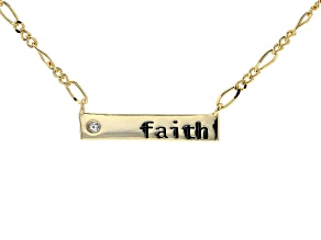 White Cubic Zirconia 18k Yellow Gold Over Sterling Silver Faith Necklace 0.04ctw