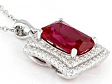 Red Lab Created Ruby & White Cubic Zirconia Rhodium Over Sterling Silver Pendant With Chain 5.37ctw