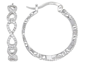 White Cubic Zirconia Rhodium Over Sterling Silver Figure Eight Hoop Earrings 1.30ctw
