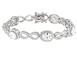 White Cubic Zirconia Rhodium Over Sterling Silver Figure Eight Bracelet 12.46ctw