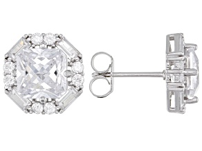 White Cubic Zirconia Rhodium Over Sterling Silver Earrings 12.34ctw