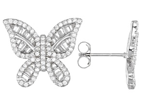 White Cubic Zirconia Rhodium Over Sterling Silver Butterfly Earrings 3.13ctw