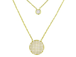 White Cubic Zirconia 18k Yellow Gold Over Sterling Silver Multi Strand Necklace 0.52ctw
