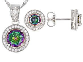 Multicolor and White Cubic Zirconia Rhodium Over Sterling Silver Jewelry Set 5.60ctw