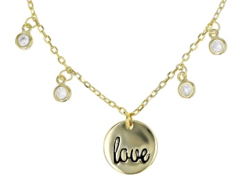 """Picture of White Cubic Zirconia 18k Yellow Gold Over Sterling Silver """"Love"""" Necklace 0.37tw"""