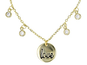 "White Cubic Zirconia 18k Yellow Gold Over Sterling Silver ""Love"" Necklace 0.37tw"
