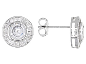Cubic Zirconia Rhodium Over Sterling Silver Earrings