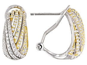 Cubic Zirconia Rhodium And 18K Yellow Gold Over Sterling Silver Earrings 1.83ctw