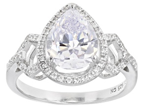 White Cubic Zirconia Rhodium Over Sterling Silver Ring. 3.57ctw