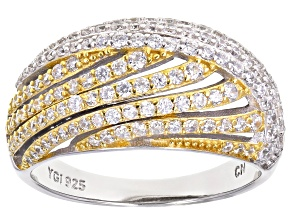 Cubic Zirconia Rhodium And 18K Yellow Gold Over Sterling Silver Ring