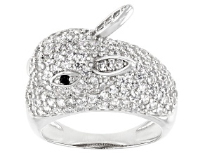White and Black Cubic Zuirconia  Rhodium Over Sterling Silver Rabbit Ring.  (1.74ctw DEW)