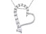 White Cubic Zirconia Rhodium Over Sterling Silver Heart Pendant With Chain 1.15ctw