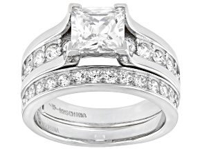 White Cubic Zirconia Platinum Over Sterling Silver Ring With Band 4.34ctw