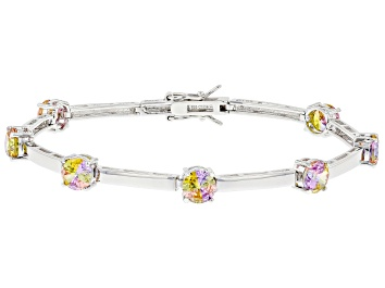 Picture of Multi Color Cubic Zirconia Rhodium Over Sterling Silver Bracelet. 5.50ctw
