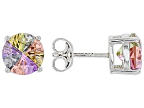 Multicolor Cubic Zirconia Rhodium Over Sterling Silver Earrings 4.40ctw