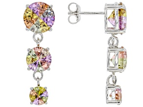 Multicolor Cubic Zirconia Rhodium Over Sterling Silver Dangle Earrings 15.00ctw