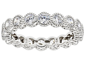 Cubic Zirconia Rhodium Over Sterling Silver Eternity Band Ring. (2.52ctw DEW)