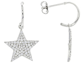 Cubic Zirconia Rhodium Over Silver Star Dangle Earrings  1.83ctw  (0.96ctw DEW)
