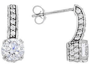 Cubic Zirconia Rhodium Over Sterling Silver Drop Earrings