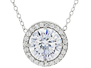 Cubic Zirconia Rhodium Over Silver Pendant With Chain 4.85ctw
