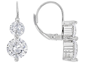 Cubic Zirconia Rhodium Over Sterling Silver Earrings 5.92ctw  (3.48 DEW)