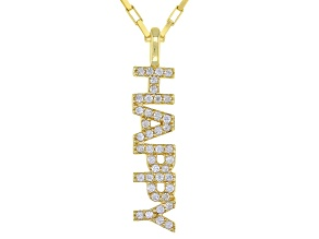 "Cubic Zirconia 18K Yellow Gold Over Silver ""Happy"" Pendant With Chain. 0.29ctw   (0.20ctw DEW)"