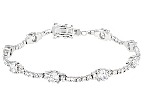 White Cubic Zirconia Rhodium Over Sterling Silver Bracelet 8.56ctw