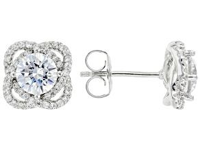 White Cubic Zirconia Rhodium Over Sterling Silver Earrings (2.21ctw DEW)
