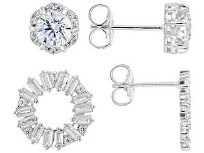 White Cubic Zirconia Rhodium Over Sterling Earrings Set of 2 (2.59ctw DEW)