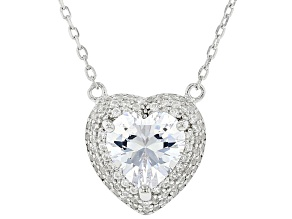 White Cubic Zirconia Rhodium Over Silver Heart Shape Necklace. (2.20ctw DEW)