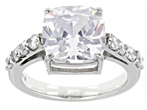 White Cubic Zirconia Rhodium Over Sterling Silver Ring (4.35ctw DEW)