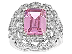 Pink and White Cubic Zirconia Rhodium Over Silver Ring (7.15ctw DEW)