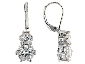White Cubic Zirconia Rhodium Over Sterling Silver Earrings (5.00ctw DEW)