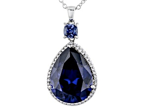Blue and White Cubic Zirconia Rhodium Over Silver Pendant With Chain