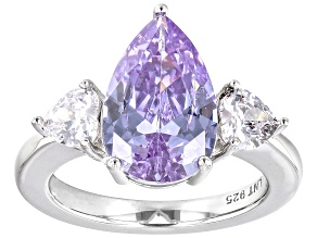 Purple and White Cubic Zirconia Rhodium Over Silver Ring. (6.35ctw DEW)