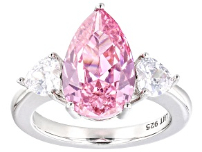 Pink and White Cubic Zirconia Rhodium Over Silver Ring. (6.30ctw DEW)