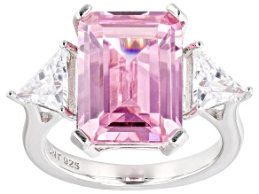 Pink and White Cubic Zirconium Rhodium Over Silver Ring. (10.60ctw DEW)