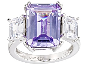 Purple and White Cubic Zirconia Rhodium Over Silver Ring. (10.90ctw DEW)