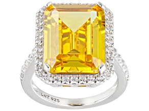 Yellow and White Cubic Zirconia Rhodium Over Silver Ring. (14.90ctw DEW)