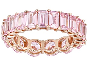 Pink Cubic Zirconia 18k Rose Gold Over Sterling Silver Eternity Band Ring. (7.69ctw DEW)