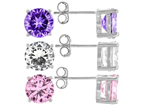 Purple, Pink, and White Cubic Zirconia Rhodium Over Sterling Silver Earrings.