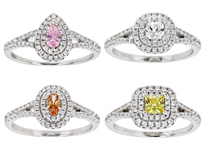 Multicolor Cubic Zirconia Rhodium Over Sterling Silver Rings Set of 4 3.90ctw