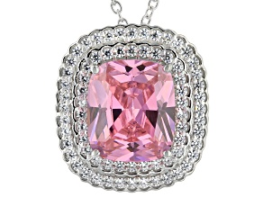 Pink And White Cubic Zirconia Rhodium Over Sterling Silver Pendant With Chain 17.87ctw