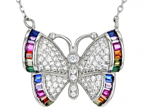 Multicolor Cubic Zirconia Rhodium Over Sterling Silver Butterfly Necklace 1.47ctw