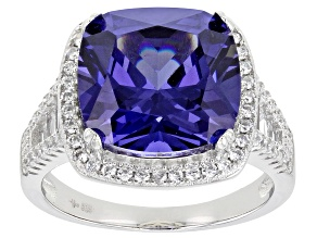 Bella Luce® Tanzanite and White Diamond Simulants Rhodium Over Silver Ring 11.37ctw