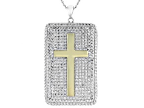 White Cubic Zirconia Rhodium Over Sterling Silver Dog Tag Pendant With Chain 6.01ctw