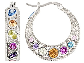 Red Lab Ruby, Lab Blue Spinel & Multi Color Cubic Zirconia Rhodium Over Silver Earrings 9.00ctw