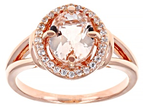 Pink morganite 18k rose gold over silver ring 1.70ctw
